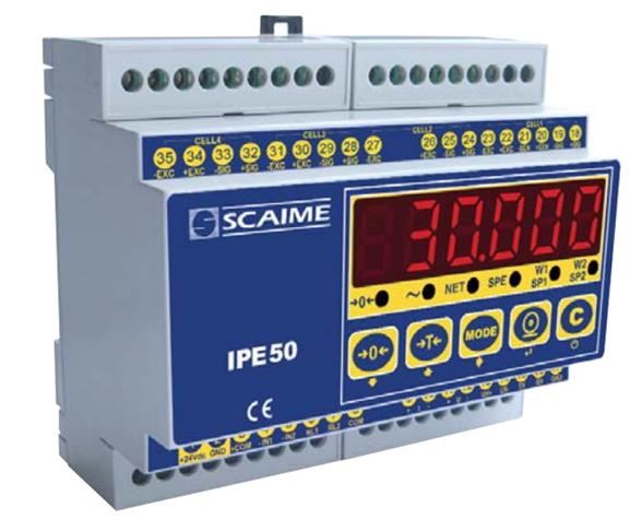 IPE50 DIN - <li>Panelový vážní indikátor na DIN lištu</li> <li>Šestimístný LED displej, výška číslic 13 mm</li> <li>Přesnost 10000 d, OIML  R76</li> <li>Napájecí napětí 12….24V DC / 3,6W</li> <li>Může napájet až 8 snímačů 350 ?, 4 nebo 6 vodičových</li> <li>Výstup RS232, RS485, dva log. vstupy a dva výstupy</li> <li>Volitelně PROFIBUS, ukládání dat, analogový  výstup</li>