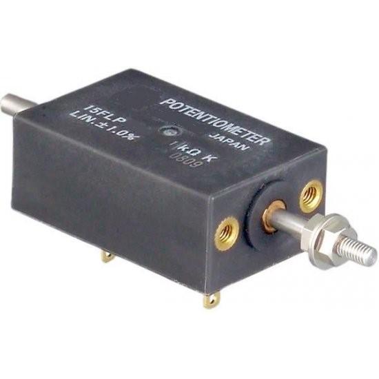 15FLP - <li>malý měřicí lineární potenciometr</li> <li>plastový odporový element s vysokým rozlišením</li> <li>měřicí rozsahy 10, 15, 20, 30 mm</li> <li>el. připojení pájení na zlacené vývody</li> <li>krytí IP40</li>
