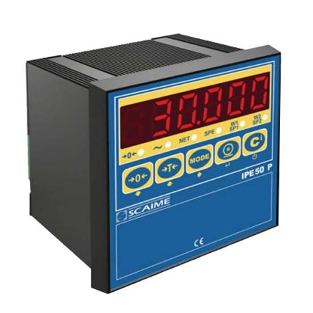 IPE50 - <li>Panelové kompaktní měřidlo pro vážicí aplikace</li> <li>Šestimístný LED displej, výška číslic 18 mm<</li> <li>Napájecí napětí 12….24V DC / 3,6W </li> <li>Může napájet až 8 snímačů 350 ?, 4 nebo 6 vodičových</li> <li>Výstup RS232, RS485, dva reléové výst. 48V DC / 0,1A</li> <li>Dva logické vstupy, volitelně PROFIBUS nebo analog výstup</li>