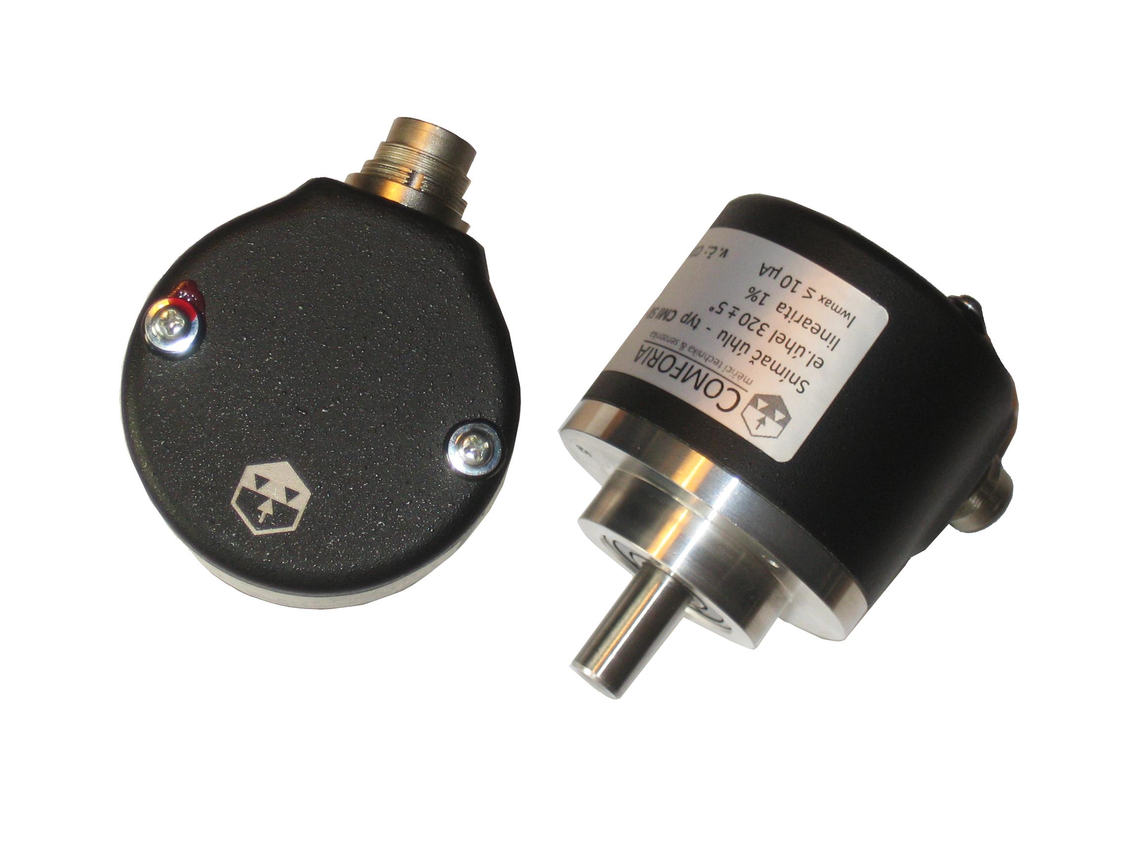 CMI58 - <li>robustní průmyslový snímač natočení</li> <li>duralové pouzdro Ø 58mm</li> <li>hřídel Ø 10mm, ul. v kuličkových ložiskách</li> <li>el. připojení konektorem M16</li> <li>možnost zakázkové vestavby různých snímačů</li> <li>krytí IP65</li>